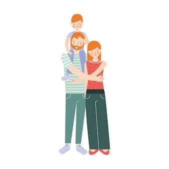 Casal feliz com o filho nos ombros.