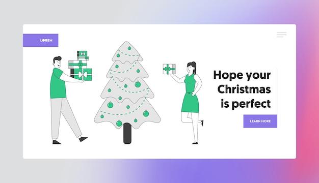 Casal feliz comemorando ano novo ou página de destino do site da festa de natal