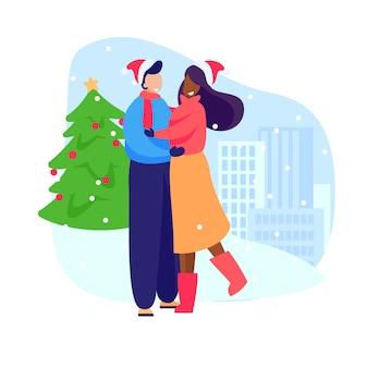 Casal feliz comemorando o ano novo