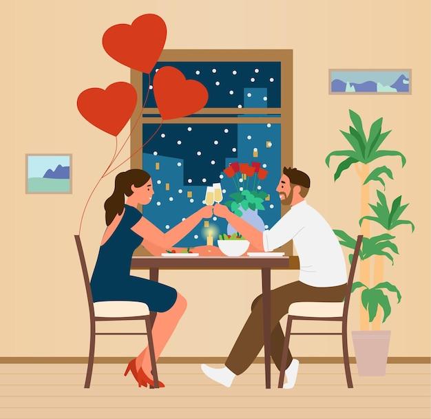 Casal feliz comemorando o dia dos namorados em casa, tendo um jantar romântico perto de ilustração de janela à noite.