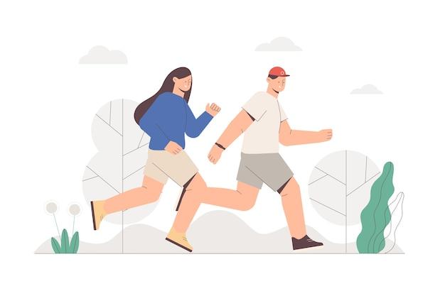 Casal feliz correndo correndo no parque