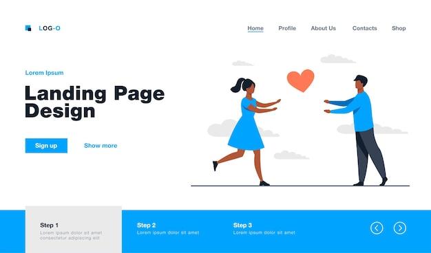 Casal feliz correndo um para o outro. amor, namorada, ilustração plana de coração. design de site de relacionamento e conceito de família ou página de destino