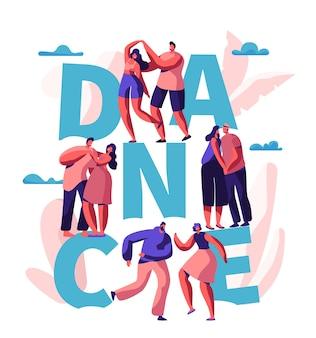 Casal feliz dança juntos banner de tipografia. homem e mulher se divertem dançando. amantes flirt hug cuddle poster design. ilustração em vetor plana de desenho animado de fim de semana romântico