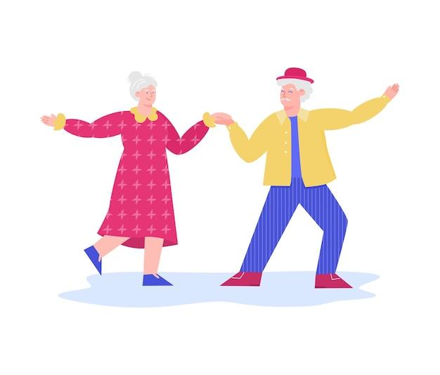 Casal feliz dançando junto - desenho animado sênior homem e mulher em roupas coloridas