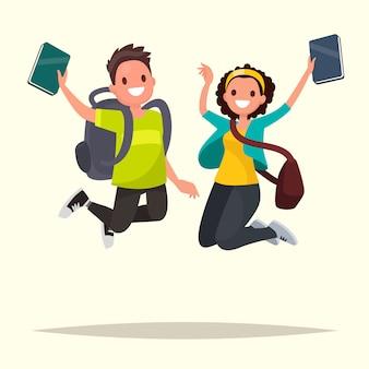 Casal feliz de estudantes pulando de alegria. ilustração em um estilo simples