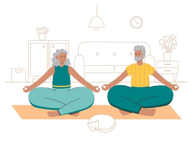 Casal feliz de idosos realiza exercícios de ioga em casa. pose de lótus.