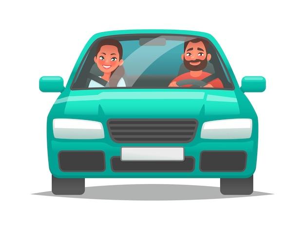 Casal feliz de jovens anda de carro um homem dirigindo um veículo e uma mulher sentada no banco do passageiro