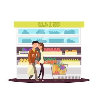 Casal feliz de personagem de desenho animado compra verduras e frutas orgânicas.
