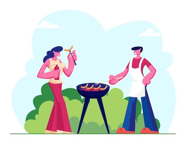 Casal feliz de personagens masculinos e femininos namorando ao ar livre em um piquenique para churrasco