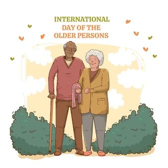 Casal feliz dia dos anciãos