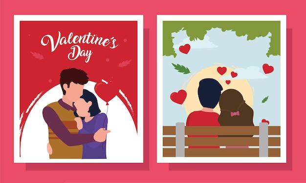 Casal feliz dia dos namorados em um conjunto de cartões de paixão amorosa e tema romântico