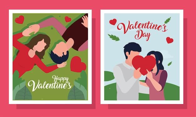 Casal feliz dia dos namorados na coleção de cartões de paixão amorosa e tema romântico