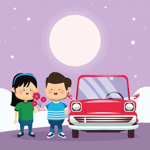 Casal feliz e carro clássico vermelho