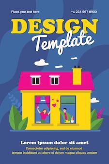Casal feliz em pé perto de janelas e conversando. cartaz plano de amor, casa, apartamento