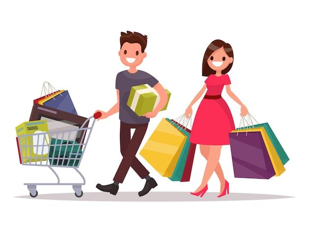 Casal feliz família com as compras. homem com uma cesta de supermercado e uma mulher com os pacotes. ilustração