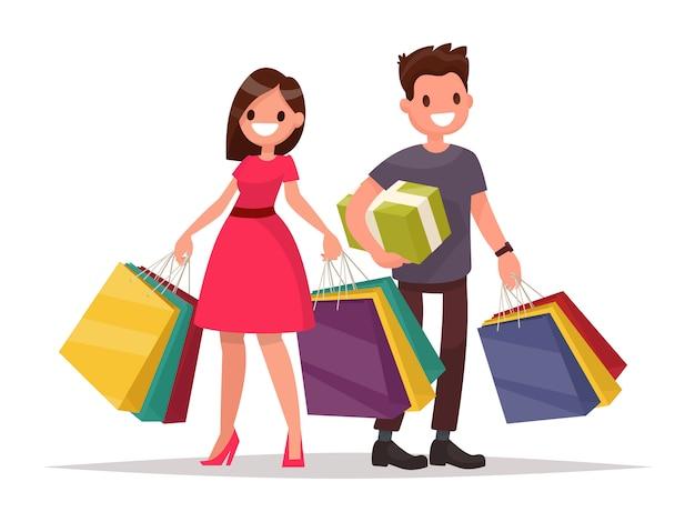 Casal feliz família com as compras. homem e mulher com malas. grande venda. ilustração