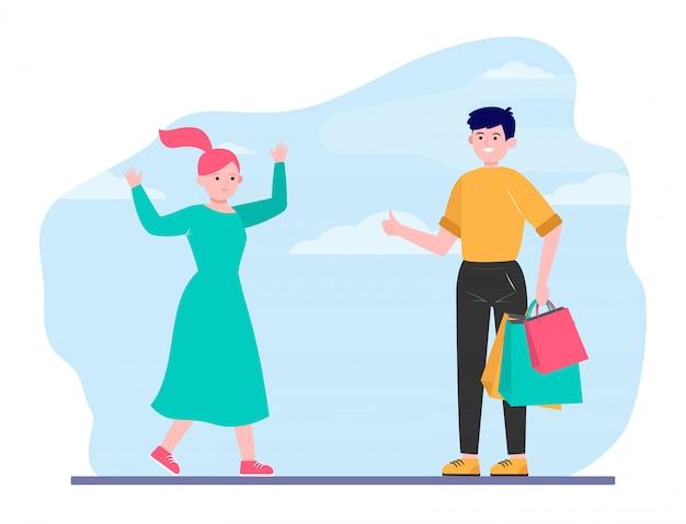 Casal feliz fazendo compras juntos