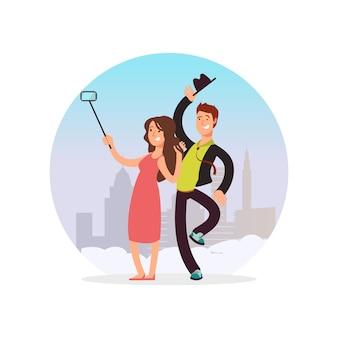 Casal feliz fazendo selfie. personagem de desenho animado homem e mulher fazendo foto