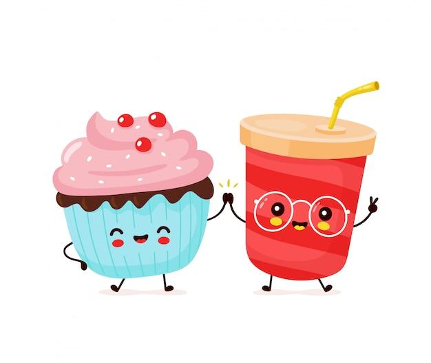 Casal feliz fofo água com gás e cupcake.