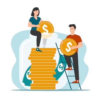 Casal feliz guardando dinheiro em um pote de dinheiro
