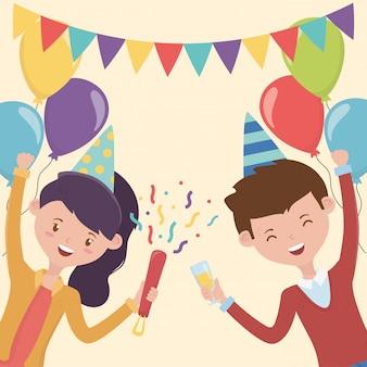 Casal feliz guirlanda balões decoração festa celebração