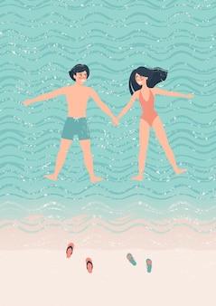 Casal feliz homem e mulher fazendo a estrela do mar flutuam na ilustração a água