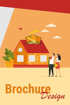 Casal feliz, investindo dinheiro em ilustração vetorial plana de propriedade. personagens de desenhos animados pegando crédito bancário e comprando casa. empréstimo hipotecário e conceito de propriedade