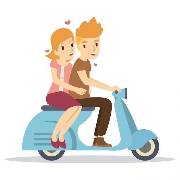 Casal feliz, montando uma scooter clássica no dia dos namorados