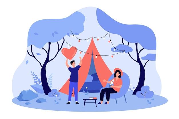 Casal feliz namorando e glamping ilustração plana ao ar livre