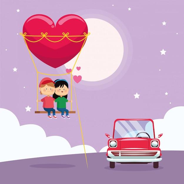 Casal feliz no balanço do coração e carro clássico