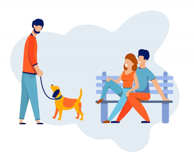 Casal feliz no banco encontrar-se com cachorro andando de amigo