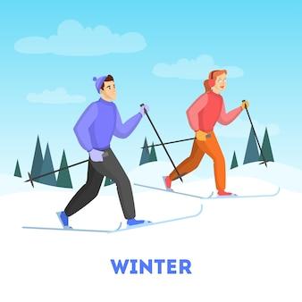 Casal feliz no esqui. atividade de inverno