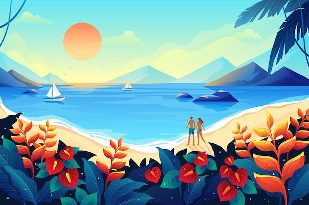 Casal feliz, passar o verão em lugares exóticos