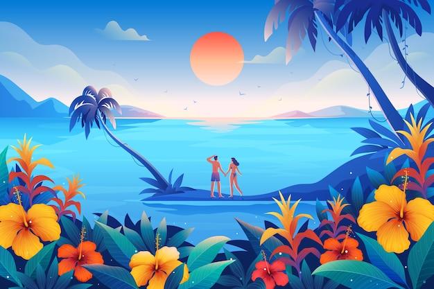 Casal feliz, passar o verão em lugares tropicais