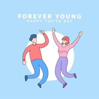 Casal feliz salto pose comemorar feliz dia da juventude para sempre jovem evento estilo cartoon ilustração