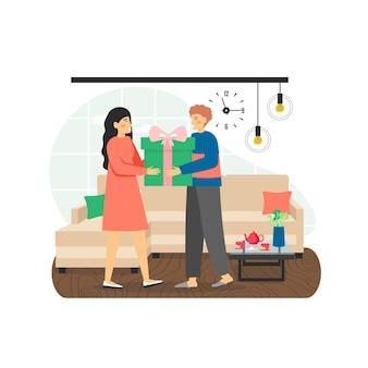 Casal feliz segurando uma caixa de presente gigante, ilustração vetorial plana. homem dando presente para menina