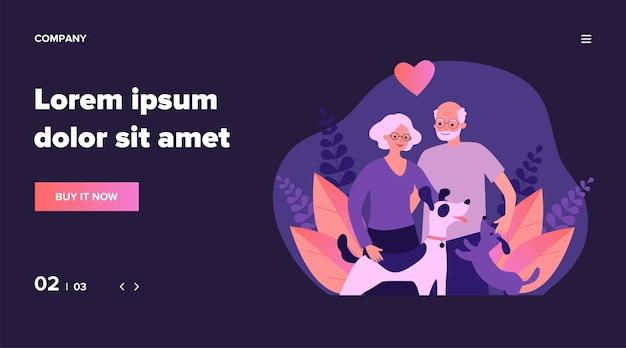 Casal feliz sênior com cães. família, animal de estimação, ilustração de relacionamento. conceito de aposentadoria e amor para banner, site ou página de destino