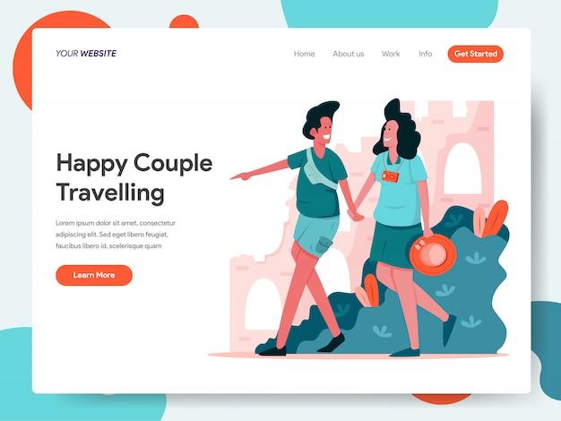 Casal feliz viajando banner para landing page