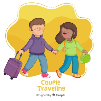 Casal feliz viajando em estilo cartoon