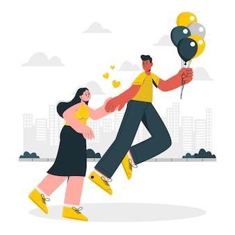 Casal flutuando com ilustração do conceito de balões