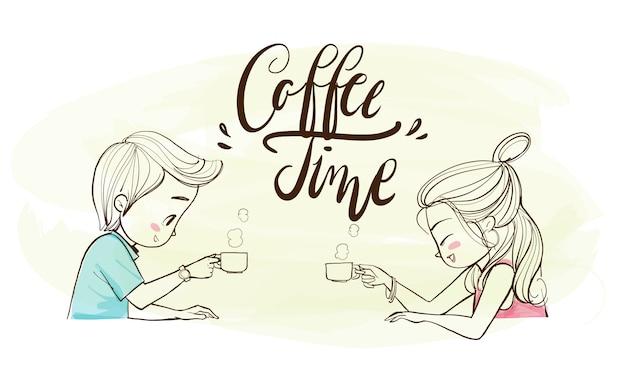 Casal fofo bebendo café no café.
