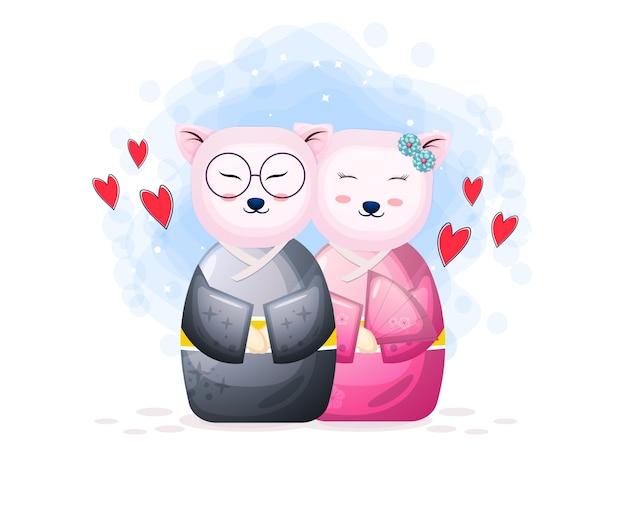 Casal fofo boneca kokeshi com coração