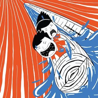 Casal fofo brincando de passeio de barco no estilo cartoon