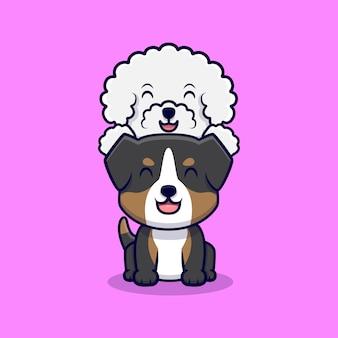 Casal fofo cachorro brincando de ilustração de ícone de desenho animado