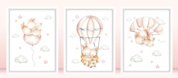 Casal fofo coelho conjunto de cartões ilustração em aquarela