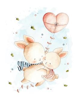 Casal fofo coelho voando com pipa ilustração em aquarela