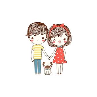 Casal fofo com cachorro em estilo simples