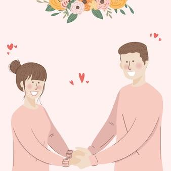 Casal fofo com camiseta de casal segurando a mão
