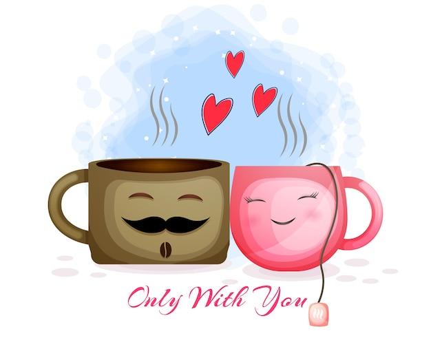 Casal fofo de café e chá