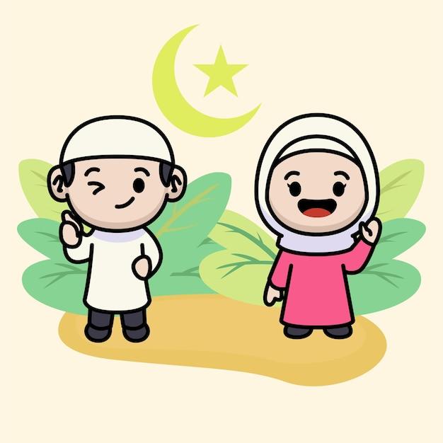 Casal fofo de crianças muçulmanas cumprimentando ramadhan kareem
